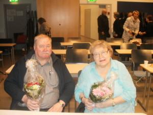 2015 seuran kunniajäsenet; Yrjö Jauhiainen ja Leena Laulajainen